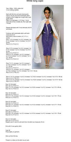 Barbie Dolls Diy, Barbie Clothes Patterns, Crochet Barbie Clothes, Doll Clothes Barbie, Barbie Dress, Clothing Patterns, Knitting Dolls Free Patterns, Crochet Barbie Patterns, Knitting Dolls Clothes