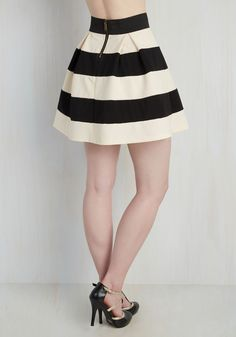 Stripe It Lucky Skirt in Black & White. You cant help but feel like you hit the style lottery every time you decide to zip into this striped A-line skirt! #black #modcloth