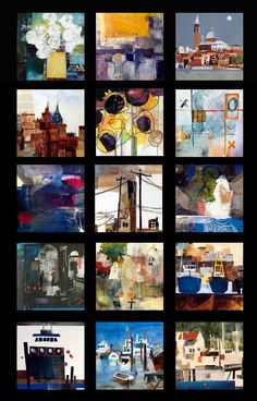 Thumbnails of Susan K. Miller watercolors and watermedia collages.