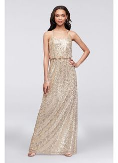 34395413d5 Long Blue Soft  amp  Flowy David s Bridal Bridesmaid Dress Gold Glitter Bridesmaid  Dresses