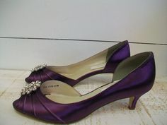 Crystal Wedding Shoes Purple Shoes 1 3/4 Inch Peep Toe Crystal Bling Bridal  Bride