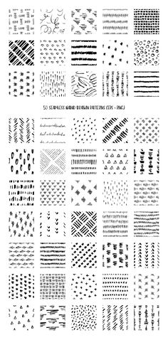 50 Hand Drawn Pen & Ink Patterns by DESIGN BY nube on @creativemarket