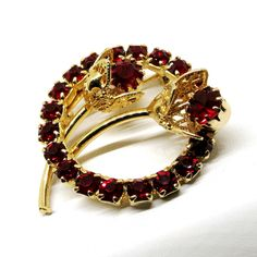 Red Floral Brooch - Vintage, Gold Tone, Circular, Red Rhinestones Rose Pin, 1960s by MyDellaWear on Etsy $18
