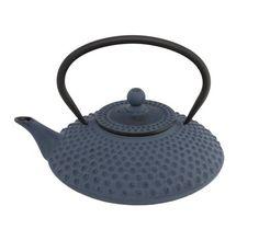 asiatische Teekanne Gusseisen Jing 1,25 ltr. blaue Noppenstruktur Bredemeijer