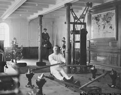 "Rare Titanic Photos   TW McCawley, ""physical educator,"" on the rowing machine. The man beind -- sitting on a mechanical camel -- is Harland and Wolfe electrician William Parr. Both men were lost in the disaster."