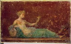 A typical Roman divan or sofa in a Triclinium (three recliners), a three-sectioned sofa is illustrated in the 'Red Room' panel discovered in a Roman villa. Reclining Naiad drinking from a horn. ca. 30-50 CE. Campo Varano, Stabiae.