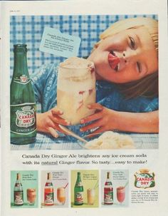 """Description: 1957 CANADA DRY vintage print advertisement """"Ginger Ale brightens any ice cream soda""""-- Canada Dry Ginger Ale brightens any ice cream soda with its natural Ginger flavor. So tasty ... easy to make! -- Size: The dimensions of the full-page advertisement are approximately 10.5 inches ..."""