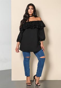 Plus Size Off Shoulder Layered Blouse | Debshops