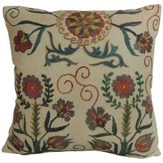 Vintage Floral Suzani Embroidery Silk Decorative Pillow | From a unique collection of antique and modern textiles at https://www.1stdibs.com/furniture/more-furniture-collectibles/textiles/