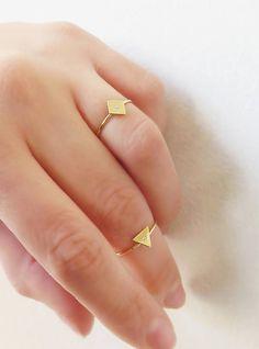 Gold Rhombus ring 14K Solid gold ring Delicate rhombus ring