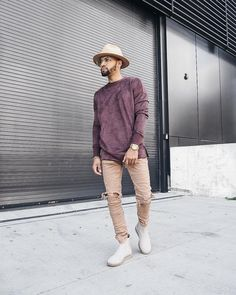 """1,891 Likes, 155 Comments - R I C H E $ (@ryriches) on Instagram: """"Velour texture Pullover & Destroyed Knee Tan Denim by: @kollarclothing """""""