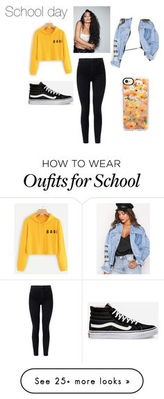 """""""School day"""" by jeanehsa27 on Polyvore featuring Missguided, J Brand, Vans and Casetify"""