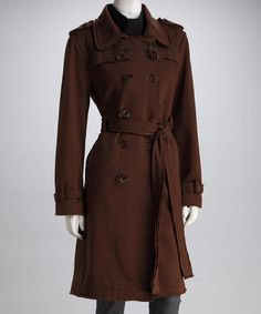 Dark Brown Large Button Belted Coat | Coats, Zulily! and Dark brown