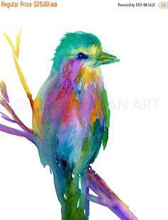 HUGE SALE Watercolor Print of Bird Lilac Breasted by JessBuhmanArt