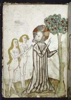 God pointing out the Apple tree to Adam and Eve 1445, Renaissance and medieval manuscripts collection.