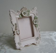 Vintage Ceramic Picture Frame by Thames, Hand Painted Pale Pink Ballet Pink Gold  Faux Pearls Rhinestones FABULOUS
