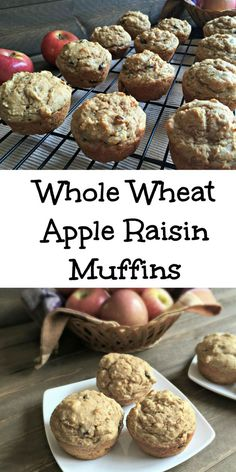 Whole Wheat Apple Raisin Muffins. Simple breakfast recipe! @ChocolateSlopes