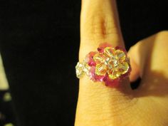 Swarovski Crystal Ring  yellow over hot pink size 445 by jsdd, $10.00