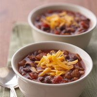 Combine black-eyed peas and black beans in a 30-minute vegetarian chili that's sure to top your family's most-requested list.