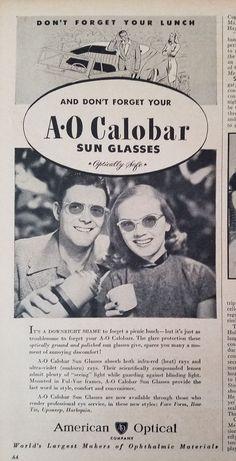 1946 Vintage American Optical A O Calobar Sun Glasses Retro Sunglasses Ad in Collectibles, Advertising, Merchandise & Memorabilia | eBay