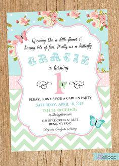 Vintage GARDEN Party Printable Birthday Invitation by LollipopInk