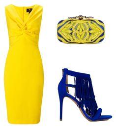 """yellow dress"" by tania-alves ❤ liked on Polyvore featuring moda, Ariella, Oscar de la Renta y Steve Madden"