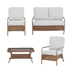 Hampton Bay Clairborne 4-Piece Patio Seating Set with Bare Cushions-DY11079-4-B at The Home Depot