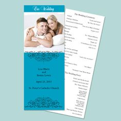 Kahny Printing Inc. This lovely non-folding photo program has your wedding ceremony details printed on the back. Imprint colors only as shown.