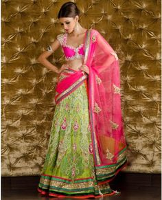 Embellished Hot Pink and Parrot Green Lengha Choli with Dupatta