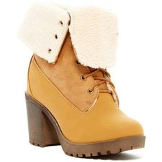 Carrini CA Collection Women's Fashion Faux Shearling Lined Lace-Up Heeled Boots, Size: 8.50, Beige