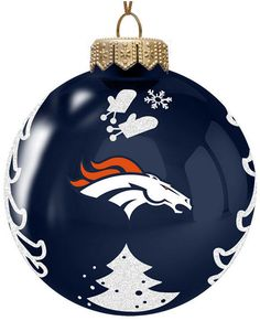 Shop for ornaments by style at Macy's. From classic styles like Angels, Nutcrackers, Santas and Snowflakes to funky Animal, Beauty, Food and Light Up ornaments. Glass Christmas Tree Ornaments, Christmas Deco, Christmas Time, Christmas Crafts, Christmas Bulbs, Denver Broncos Football, Go Broncos, Broncos Fans, Houston Texans