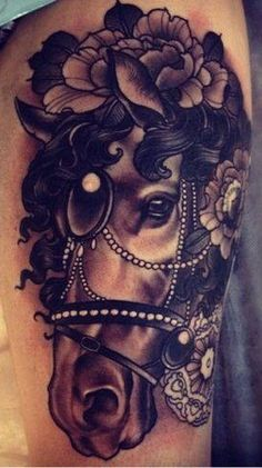 Carousel horse tattoo. Oh my, so very beautiful. I would love this tattoo.