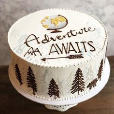 Adventure is always waiting around the corner.make sure to find yours 🌎 ✈️ 🌲 Birthday Cakes For Men, Creative Birthday Cakes, Creative Cakes, Nature Cake, Flour Bakery, Fathers Day Cake, Birthday Cake Decorating, Holiday Cakes, Pastry Cake