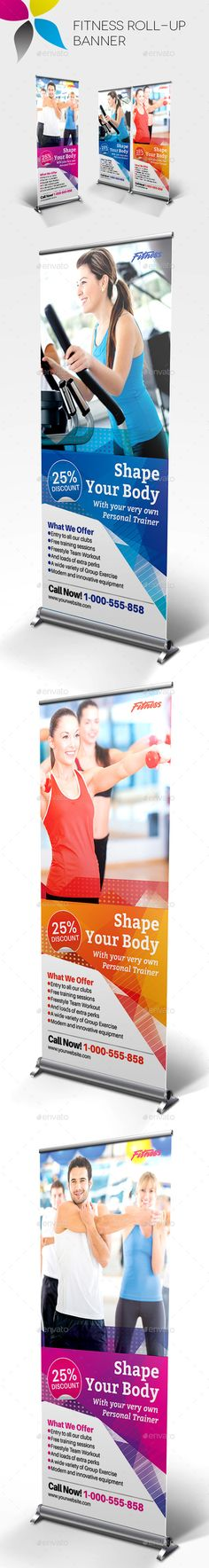 Fitness Roll-Up Banner - Signage Print Templates Banner Shapes, Pop Up Banner, Store Signage, Event Signage, Letterhead Template, Brochure Template, Graphic Design Templates, Print Templates, Banner Template