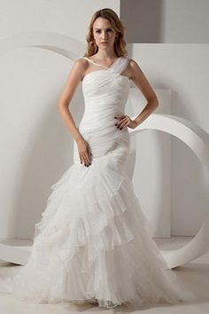 Ivory Layered Ruched Romantic Wedding Gown