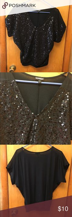 Express Size Small Black Sequin Top Good condition. Used. Comes from a smoke free home. Express Tops