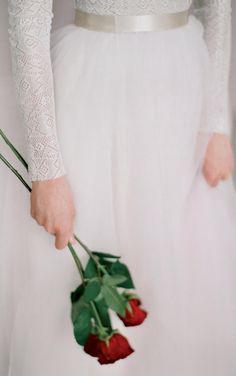 Long Sleeve Tulle Skirt Wedding Dress at $120.78 at June Bridals! We offer off the shoulder wedding dresses, long sleeve wedding dresses, lace wedding dresses and many other affordable wedding dresses, shop before the sale ends! #junebridals