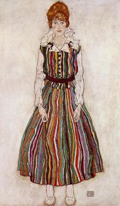 fleurdulys: Portrait of Edith Schiele in a Striped Dress - Egon Schiele 1915