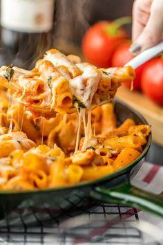 Chicken Parmesan Pasta Skillet {The Cookie Rookie}
