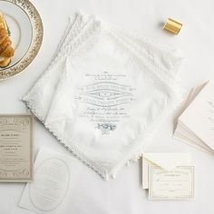 french-Inspired handkerchief wedding invitations | lucky luxe couture correspondence