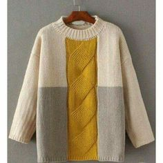 To find out about the Color Block Cable Knit Drop Shoulder Sweater at SHEIN, part of our latest Sweaters ready to shop online today! Cable Knit Sweaters, Pullover Sweaters, Knitting Pullover, Cable Knitting, Easy Knitting, Long Sweaters, Lila Pause, Diy Pullover, Knit Fashion