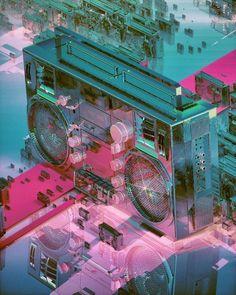 Everydays - Beeple - Digital Art - Some absolutely stunning digital art here. Cgi, Wisconsin, Architecture Quotes, Neon Aesthetic, Maxon Cinema 4d, Travel Humor, Instagram Bio, One Image, Skull Art