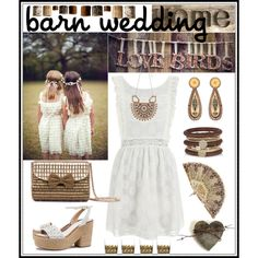Barn Wedding by giovanina-001 on Polyvore featuring MINKPINK, Tory Burch, River Island, Anisha Parmar London, Pier 1 Imports, Bloomingville, DWBH Homewares, bestdressedguest and barnwedding
