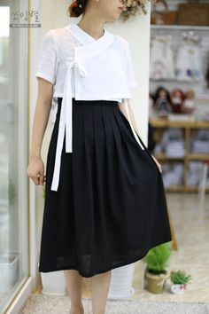 Yin&Xia ~{spring&summer} school uniform {school is every other day consistently beginning fri sep Korean Traditional Clothes, Traditional Dresses, Korean Dress, Korean Outfits, Korea Fashion, Japan Fashion, Modest Fashion, Fashion Dresses, Modern Hanbok