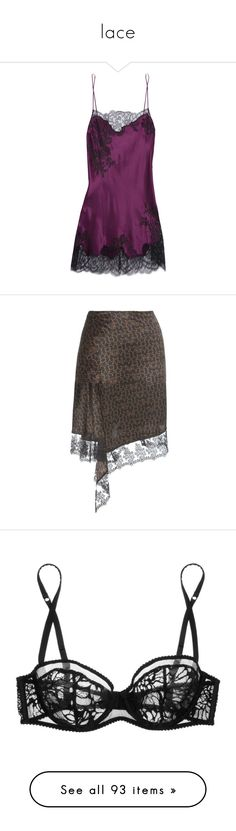 """""""lace"""" by qazx ❤ liked on Polyvore featuring intimates, chemises, dresses, burgundy, lace trim chemise, carine gilson, skirts, black, lace trim skirt and givenchy skirt"""