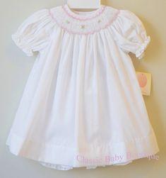 NWT Petit Ami White Mint Sheer Smocked Bishop 2pc Dress Girls 12 18 24 Months