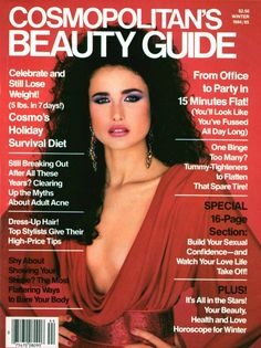 Andie on the cover of Cosmopolitan's Beauty Guide, Winter 1984/1985. Hair Magazine, Vogue Magazine, Fashion Cover, 80s Fashion, 1980s Hair, Francesco Scavullo, Pin Up, Andie Macdowell, Cosmo Girl
