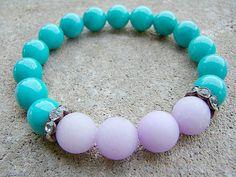 Bead Bracelet, Gemstone Bracelet, Purple, Beaded Bracelet, Turquoise, Stretch Bracelet, Women's, Natural Stone Jewelry, Bohemian Bracelet by BeJeweledByCandi