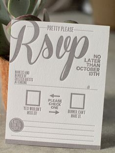 """Creative letterpress RSVP.    Note the """"Number of invited guests attending"""" MUST HAVE.     People don't unterstand proper etiquette!"""