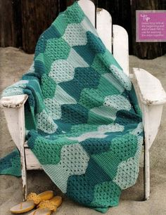 Multi Green Afghan free crochet graph pattern